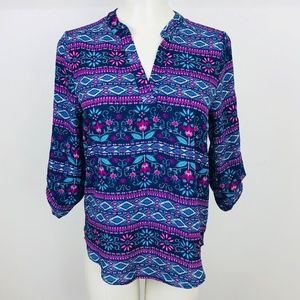 Pink Rose Top size Small Blue Floral 3/4 Sleeve